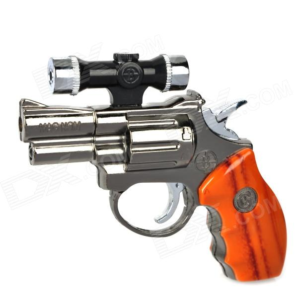 Pistol Shape Windproof Gas Lighter w/ Red Laser + LED Flashlight - Silver + Brown