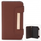 Multi-Function Protective Genuine Leather Cover Plastic Case for iPhone 4 / 4S - Brown