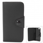 Protective PU Leather Cover w/ Plastic Back Case for Iphone 5 - Black