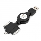 Retractable 3-in-1 USB 2.0 Data / Charging Cable for iPhone / Micro USB / Samsung P1000 - Black