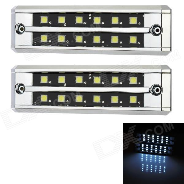 2.4W 144lm 12-SMD 5050 LED White Light Car Daytime Running Lamps (12V / 3 PCS) 3w 800ml 6000k white cob led car fog light daytime running lamp black transparent 2 pcs
