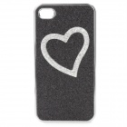 Protective Heart Pattern Rhinestone Decoration PC Case for Iphone 4 / 4S - Black + Silver