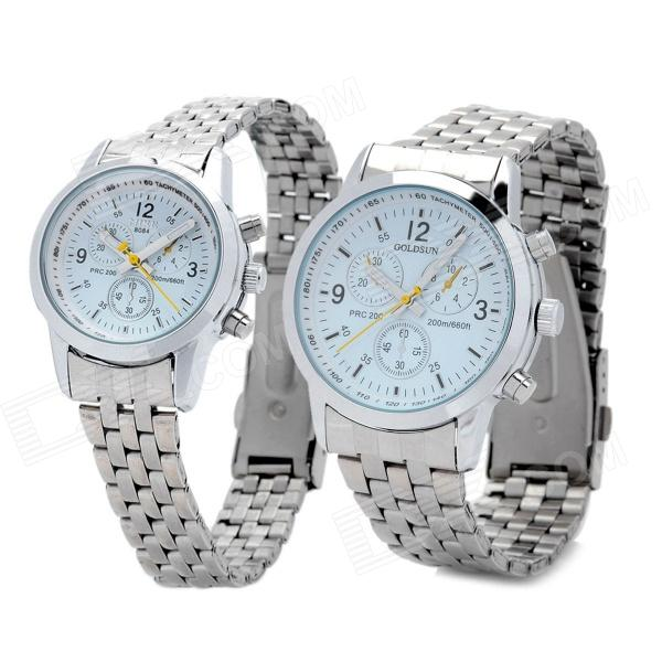 Fashion Couple's Stainless Steel Analog + Digital Quartz Waterproof Wrist Watch - Silver (2 PCS) industrial display lcd screen tm121sv 02l03 tm121sv 02l03b tm121sv 02l03a lcd screen