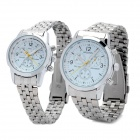 Fashion Couple's Stainless Steel Analog + Digital Quartz Waterproof Wrist Watch - Silver (2 PCS)