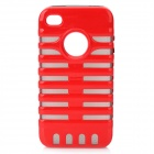 Protective TPU Soft Back Cases w/ PC Skeleton Frame for iPhone 4 / 4S - Red