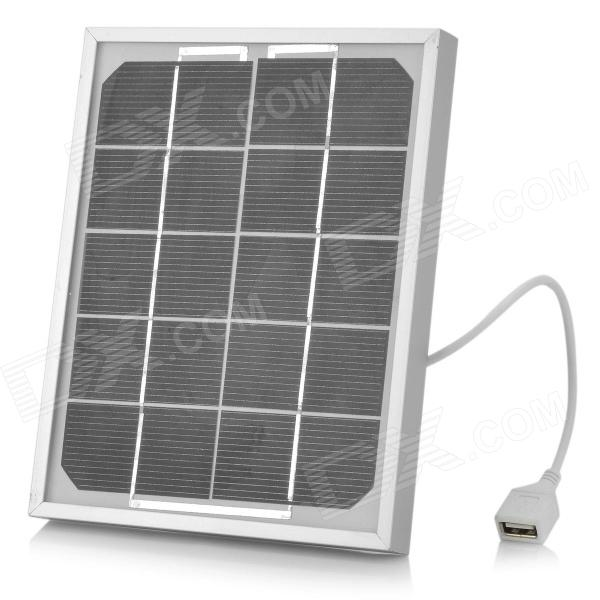 USB Solar Panel Power Battery Charger for Cell Phone / MP3 / MP4 / Camera + More - Black + Silver