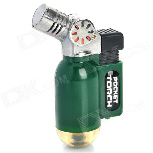 Portable Windproof Blue Flame Butane Gas Jet Lighter - Deep Green + Silver