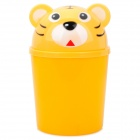 Cute Cartoon Tiger Style Mini Plastic Desktop Table Trash Can - Yellow