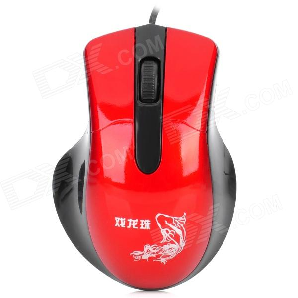 USB Kabel 1000dpi Optical Gaming Mouse - Red + Black (120cm-Kabel)
