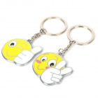 Cute Smiley Face Style Couple Lovers Keychain - Yellow + White + Silver (2 PCS)