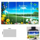 Idyllic Scenery Pattern Kitchen Heat Resistant Oil-Proof Aluminum Foil Sticker - Multicolored