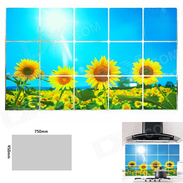 Sunflower Pattern Kitchen Heat Resistant Oil-Proof Aluminum Foil Sticker - Yellow