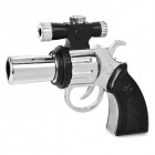 Revolving Pistol Style Windproof Blue Flame Butane Jet Lighter w/ Red Laser - Silver + Black