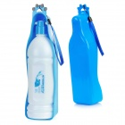 Portable Outdoor Pet Plastic Water Bottle w/ Bowl - Blue