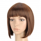 ZX-9974 2/30 Fashion Lady's Short Natural Straight Hair Wig - Deep Chestnut Brown
