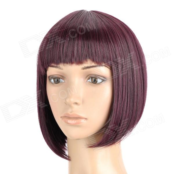 ZX-9974 Fashion Lady's Short Natural Straight Hair Wig - Red Wine Color