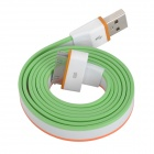 USB Male to 30 Pin Male Flat Data / Charging Cable for iPad / iPhone Series- White + Green (100cm)