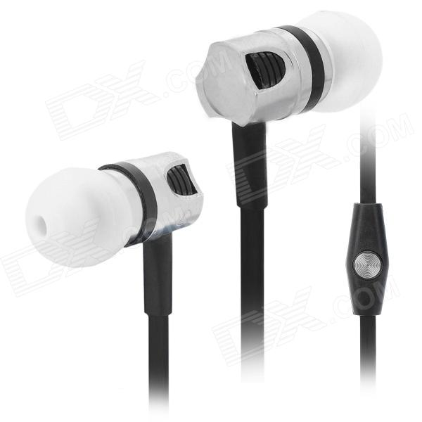 Wallytech Stylish In-Ear Earphone w/ Mic for Iphone / Ipod / Ipad - Black + Silver (3.5mm Plug) awei stylish in ear earphone with microphone for iphone ipad more black 3 5mm plug