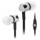 Wallytech Stylish In-Ear Earphone w/ Mic for iPhone / iPod / iPad - Black + Silver (3.5mm Plug)