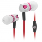 Wallytech Stylish In-Ear Earphone w/ Mic for Iphone / Ipod / Ipad - Red + Deep Pink (3.5mm Plug)