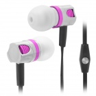 Wallytech Stylish In-Ear Earphone w/ Mic for Iphone / Ipod / Ipad - Black + Purple (3.5mm Plug)