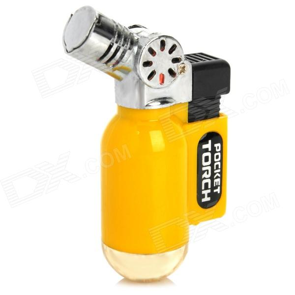 Portable Windproof Blue Flame Butane Gas Jet Lighter - Yellow + Silver