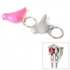 3-in-1 Cute Bird Style Whistle Keychain Holder Set - White + Pink