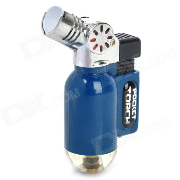 Portable Windproof Blue Flame Butane Gas Jet Lighter - Blue + Silver