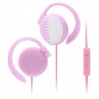 Stylish Ear-Hook Earphone w/ Microphone for iPhone - Pink (3.5mm Plug)