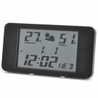 Ultra-Thin Plastic Alarm Clock w/ Thermometer + Humidity Meter - Black
