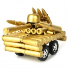 Creative Iron Bullet Shell Handicraft Four Wheels Tank Display Model - Golden