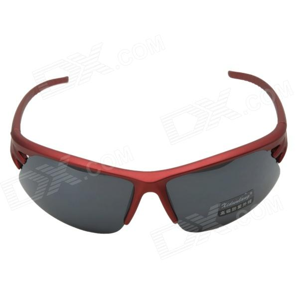 KASHILUO Motorcycle Resin Lens Sunglasses - Red + Grey