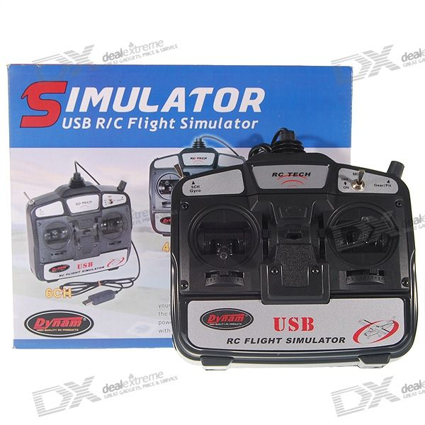 Dynam RC Tech 6-Channel USB R/C Airplane/Helicopter Flight Simulator with FMS Software (Mode 2)