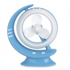 Stylish 18-LED White Light USB Lamp w/ 3-Blade Fan - Sky Blue