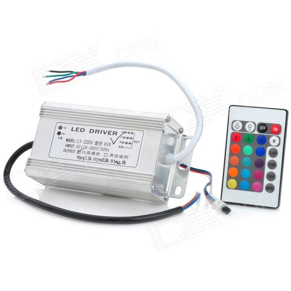 60W RGB LED Driver Waterproof Power Supply w/ Remote Controller - Silver 90w led driver dc40v 2 7a high power led driver for flood light street light ip65 constant current drive power supply