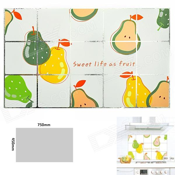 Pear Pattern Kitchen Heat Resistant Oil-Proof Aluminum Foil Sticker - White + Yellow + Green dandelion pattern kitchen heat resistant oil proof aluminum foil sticker multicolored