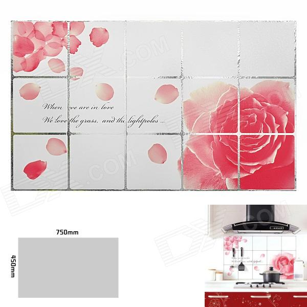 Rose Pattern Kitchen Heat Resistant Oil-Proof Aluminum Foil Sticker - White + Pink