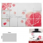 Rose Pattern Kitchen Heat Resistant Öl-Proof Aluminum Foil Sticker - Weiß + Pink