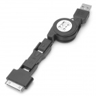 Retractable USB to 30 Pin/Mini USB/Micro USB Data & Charging Cable - Black