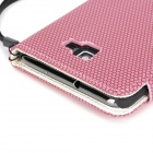 Football Grain Pattern Protective PU Leather + Plastic Case w/ Card Slots for Samsung i9220 - Pink