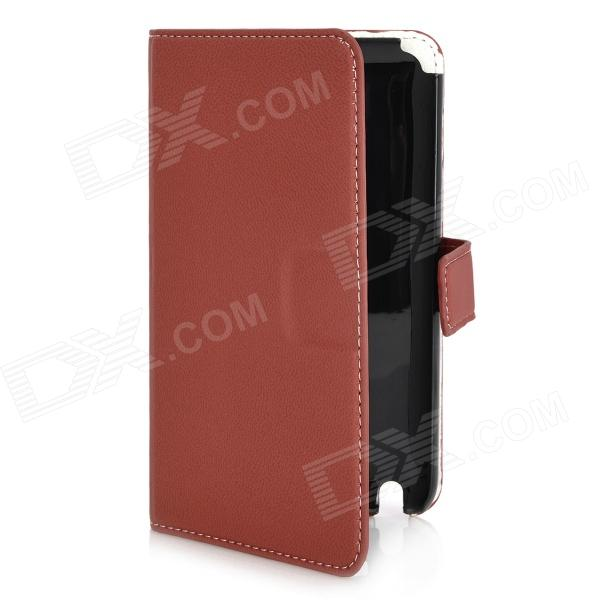 Protective PU Leather Case w/ Card Slots for Samsung Galaxy Note i9220 - Red