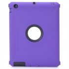 Robot Pattern Protective Silicone + Plastic Cover Case for The New Ipad - Purple