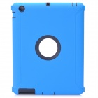 Protective Plastic Silicone Full Protection Case for The New iPad - Blue + Black
