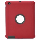 Protective Plastic Silicone Full Protection Case for The New iPad - Dark Red + Black