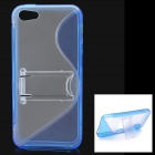 Protective Plastic Back Case w/ Stand for Iphone 5 - Blue