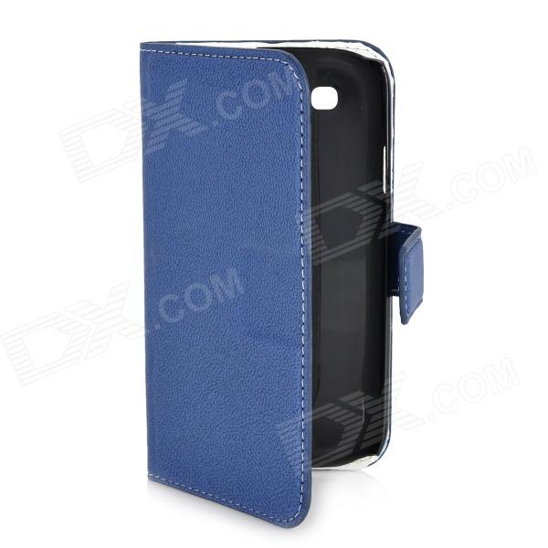 Protective Flip-Open PU Leather Case w/ Card Slots for Samsung i9300 Galaxy S3 - Blue