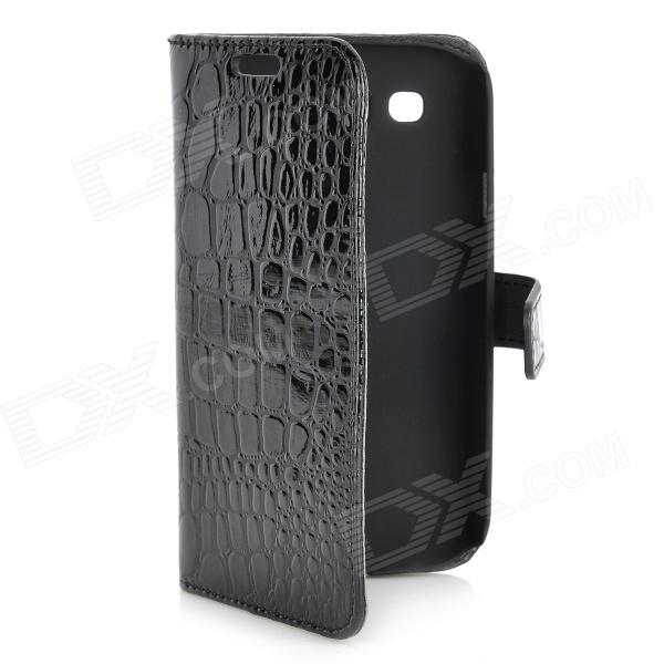 Alligator Pattern Flip-Open PU Leather Case for Samsung Galaxy S3 i9300 - Black roar tpu pu flip open case w stand display window for asus zenfone 5 white black