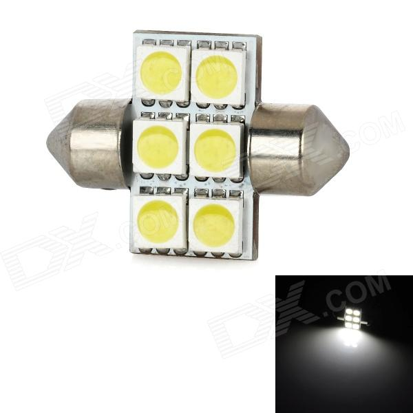 Festoon 30mm 1.08W 138lm 6x5050 SMD LED White Light Car Reading Lamp lx 3w 250lm 6500k white light 5050 smd led car reading lamp w lens electrodeless input 12 13 6v