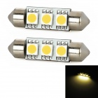Festoon 38mm 0.54W 59lm 3x5050 SMD LED Warm White Light Car Reading / Tail / Door Lamp (2 PCS)