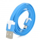 USB Data Charging Flat Cable w/ Micro USB for Samsung - Blue (95cm)